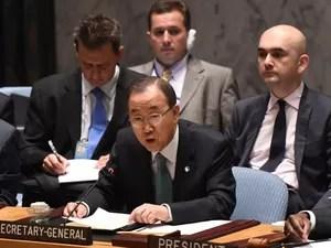 O secretário-geral da ONU, Ban Ki-moon, fala durante abertura de reunião de emergência do Conselho de Segurança da ONU sobre Gaza nesta quinta-feira (10)  (Foto: Don Emmert/AFP)