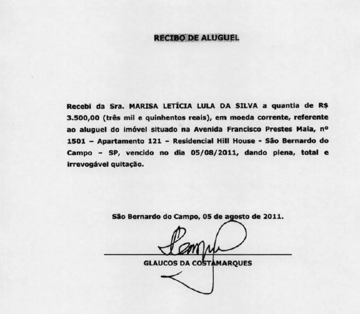 Defesa de Lula apresentou diversos recibos para comprovar pagamento sob suspeita (Foto: Reprodução)