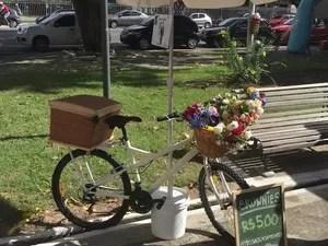 Além da cesta personalizada, o casal tem uma foodbike. O preço do brownie é R$ 5. (Foto: Luana Alyse/Arquivo Pessoal)
