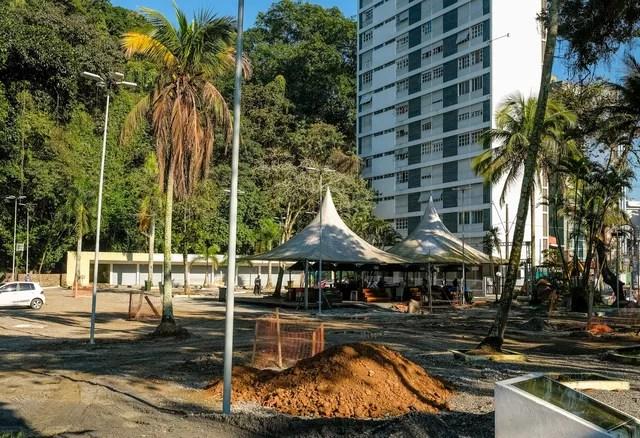 Obras na Praça da Biquinha, em São Vicente (SP), durarão cerca de 12 meses (Foto: Cesar Morgado/Prefeitura de São Vicente)