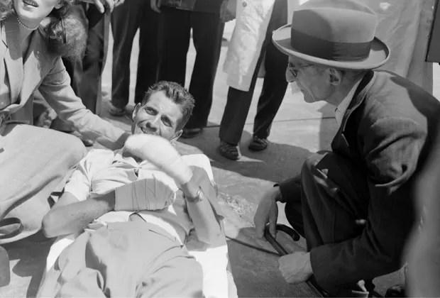 Foto de 1950 mostra Herzog logo após a escalada que o deixou famoso (Foto: AFP)