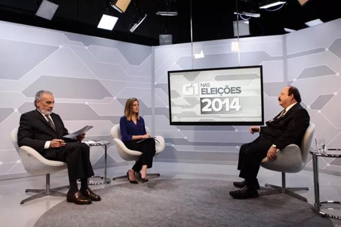 O candidato à Presidência Levy Fidelix é entrevistado no estúdio do G1 em 2014 — Foto: Caio Kenji / G1
