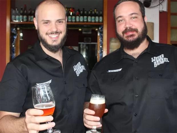 Rafael Moschetta e João Becker, da Weird Barrel, em Ribeirão Preto, SP (Foto: Taiga Cazarine/G1)