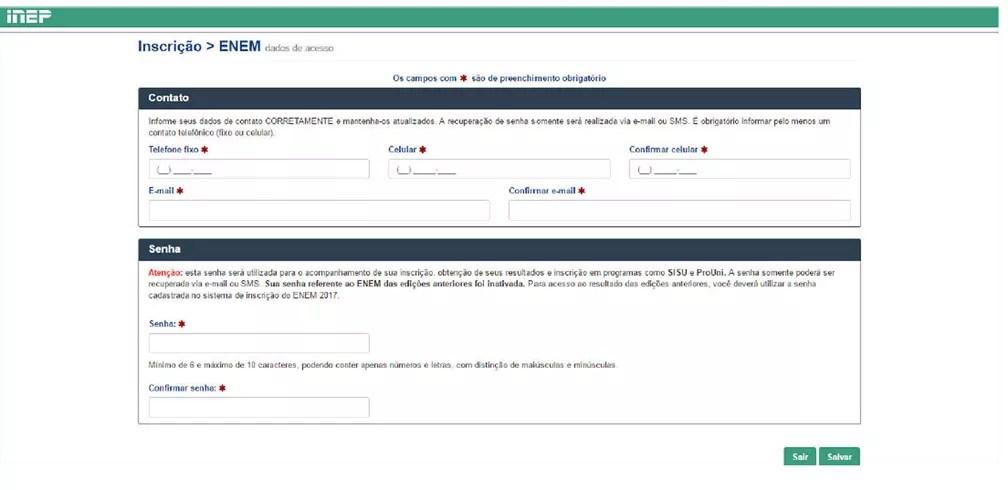 Enem 2017 - tela de inscrição vai exigir dados de contato (Foto: Reprodução/Inep)