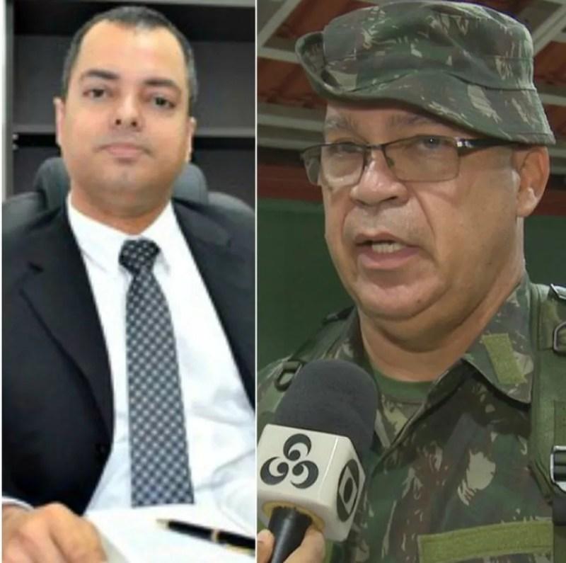Juiz Hugo Torquato (à esquerda) e general tiveram discussão durante operação em Cruzeiro do Sul (Foto: G1 e Reprodução/Rede Amazônica Acre )