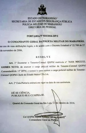 Miguel Neto foi promovido ao cargo de chefe do estado maior da PMMA (Foto: Divulgação / PM)