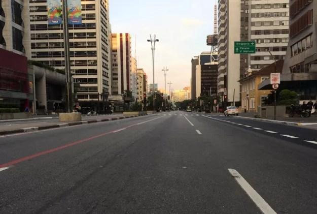 Avenida Paulista vazia no jogo