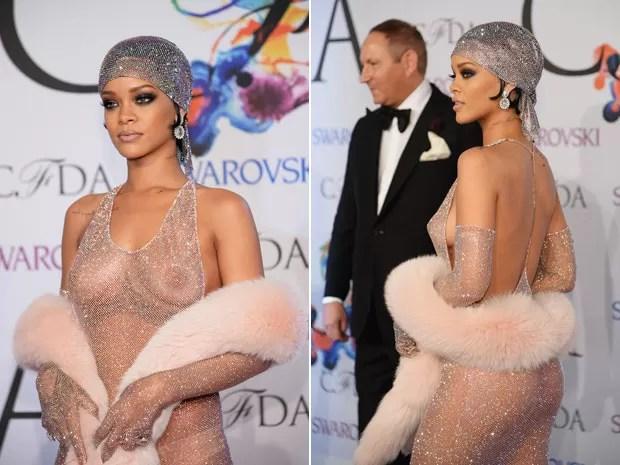 Rihanna posa no tapete vermelho do CFDA Fashion Awards; à direita, cantora ao lado de John Dempsey, presidente da empresa de cosméticos MAC (Foto: Dimitrios Kambouris/Getty Images/AFP)