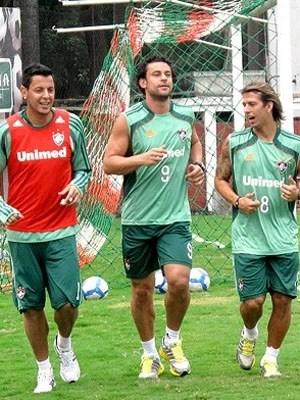 Jogadores do Fluminense treinam para partida contra o Volta Redonda (Foto: Cahê Mota / Globoesporte.com)