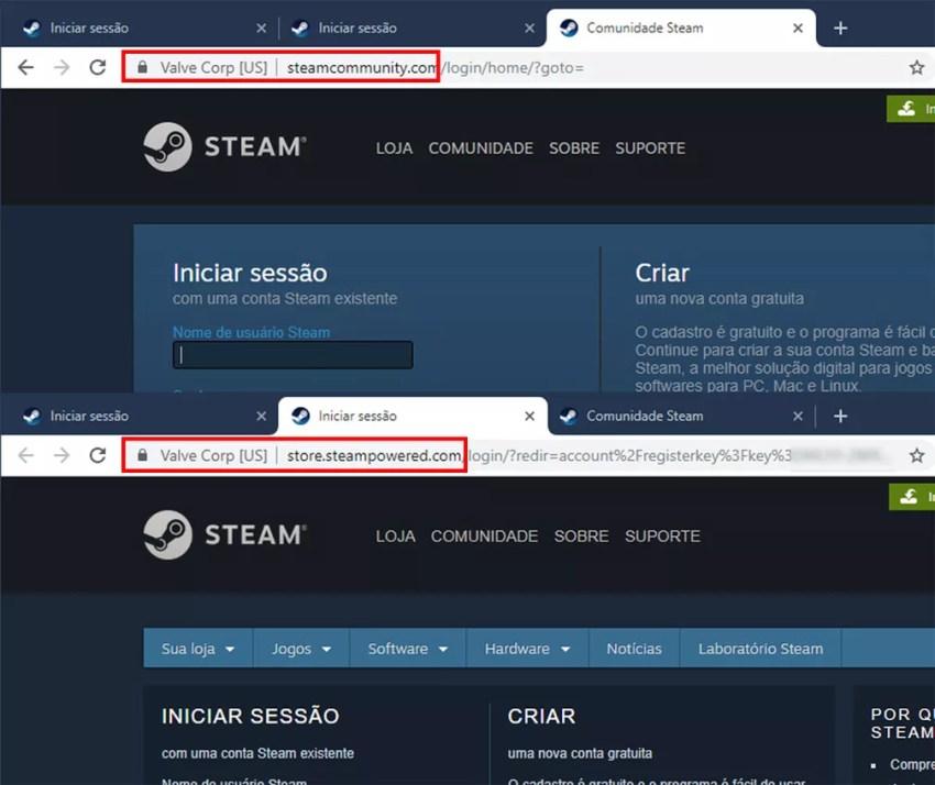 Para conferir se a tela de login é legítima, o cadeado e o HTTPS devem estar acompanhados do endereço legítimo do site: steamcommunity.com ou steampowered.com. — Foto: Reprodução