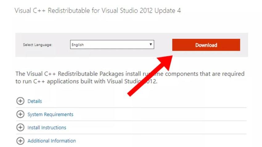 Baixe o Visual C++ Redistributable for Visual Studio 2012 (Foto: Reprodução/Paulo Alves)