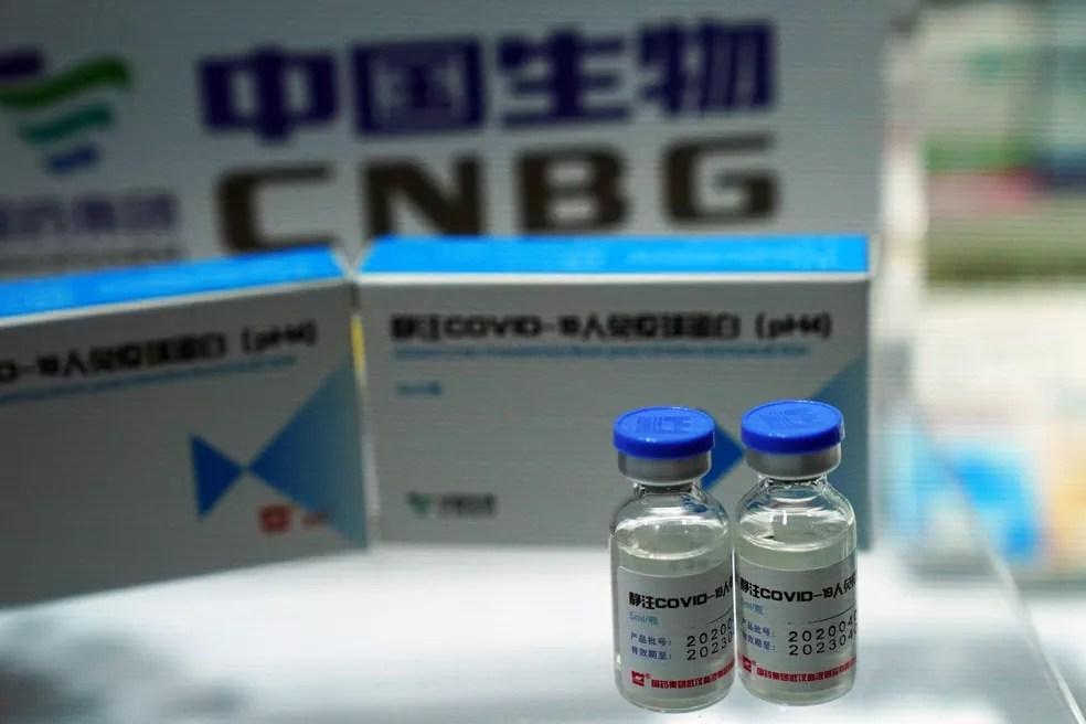 Uma candidata a vacina contra o coronavírus da China National Biotec Group (CNBG), unidade da farmacêutica estatal China National Pharmaceutical Group (Sinopharm), é vista na Feira Internacional de Comércio de Serviços da China (CIFTIS) em Pequim, na China, em 4 de setembro — Foto: Tingshu Wang/Reuters