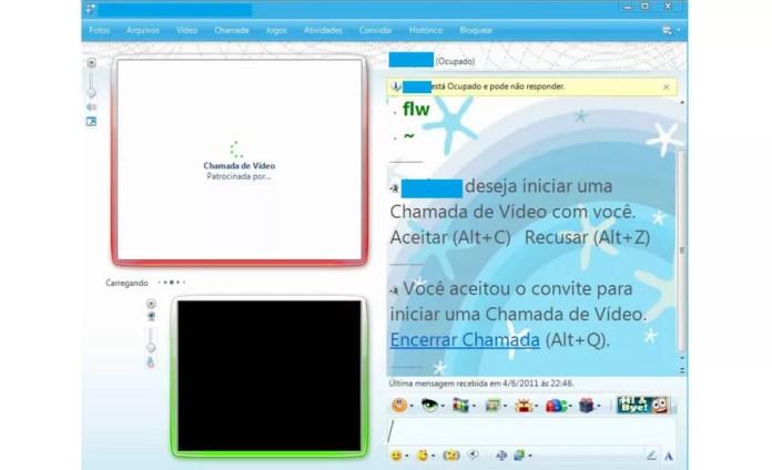 Chamadas de vídeo no MSN — Foto: Reprodução/MSN