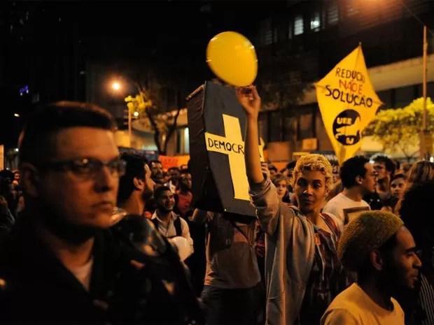 Protesto aconteceu no Centro do Rio (Foto: Fernando Frazão/G1)