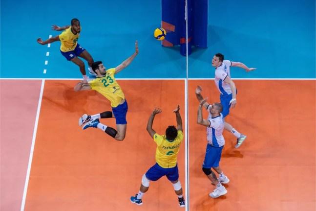 Brasil x Eslovênia na Liga das Nações — Foto: FIVB