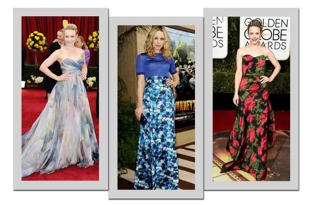 Rachel McAdams: a atriz adora modelos feitos com tecidos ricos de prints florais  (Foto: Getty Images)