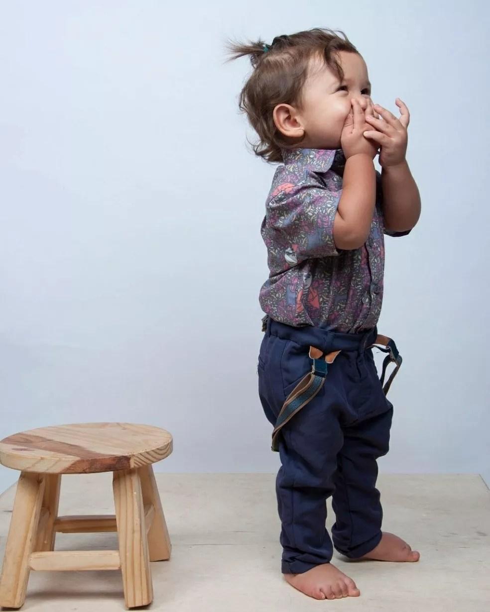 Roupa infantil estampada com obra de Ana Clara Tissot (MS) (Foto: Rafael Machado/Divulgação)