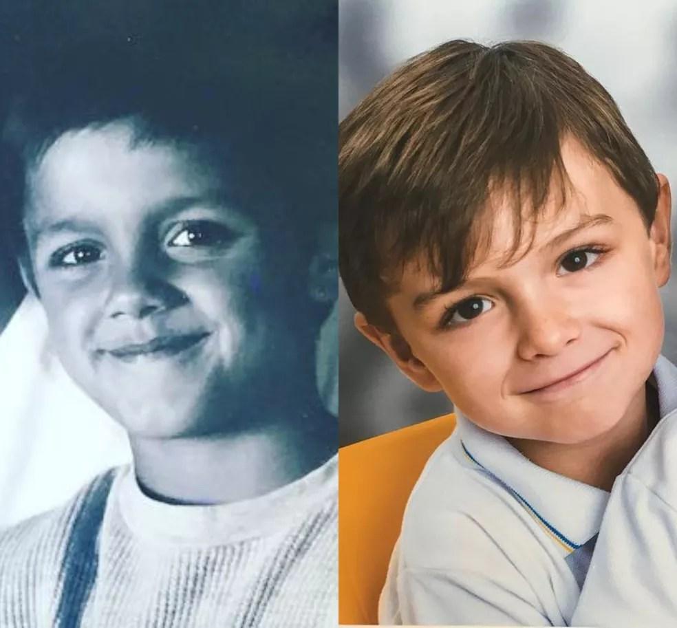 Felipe Simas e o filho, Joaquim, impressionam pela semelhança — Foto: Reprodução / Redes Sociais