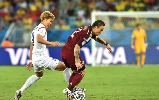 Andrei Yeshchenko jogo Russia x Coreia (Foto: AFP)