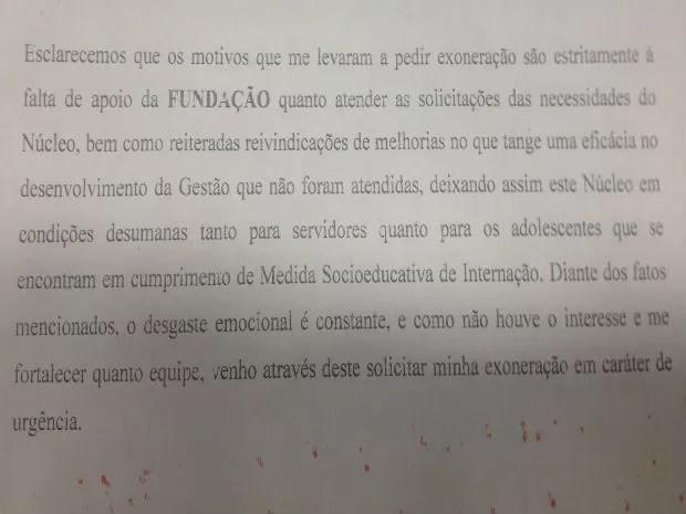 Pedido de exoneração do ex-diretor do Cesein foi confirmada pela Fcria (Foto: Dyepeson Martins/G1)