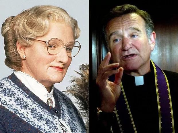 Robin Williams em 'Uma babá quase perfeita' e em 'O casamento do ano' (Foto: Divulgação)