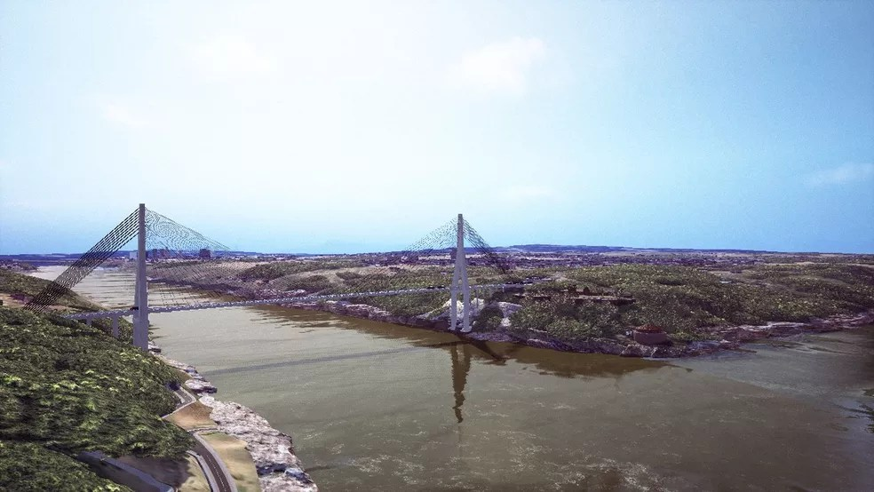 Imagem mostra como deve ficar a segunda ponte entre o Brasil e o Paraguai, em Foz do Iguaçu — Foto:  Divulgação/Itaipu