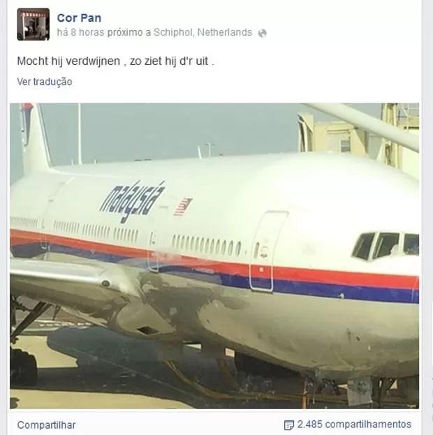 Post no Facebook de holandês mostra foto de avião e os dizeres: 'Se ele desaparecer, é assim que se parece' (Foto: Reprodução/Facebook/Cor Pan)