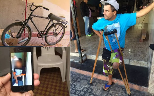 O deficiente físico Ademilson de Oliveira é dono da bicicleta que seria motivo da tortura contra adolescente (Foto: Glauco Araújo/G1/TV Globo)