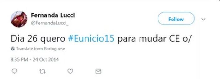 Perfil falso diz apoiar o presidente do Senado, Eunício Oliveira (PMDB-CE) (Foto: Rpreodução, Twitter)