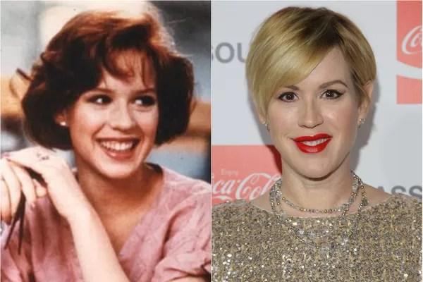A estrela de 'Gatinhas e Gatões' (1984), 'Clube dos Cinco' (1985) e 'A Garota de Rosa-Shocking' (1986), Molly Ringwald hoje tem 46 anos e três filhos (Foto: Getty Images e Reprodução)