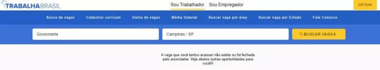Aviso informa que vaga que exigia vacinação com Pfizer foi retirada da plataforma  — Foto: Reprodução/Trabalha Brasil