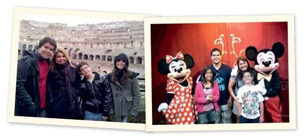 NO EXTERIOR Tereza Gavinho com sua família em Roma (no alto) e na Disney (acima).  Ela nega ter vivido com o pai dos três filhos (Foto: Arq. pessoal)