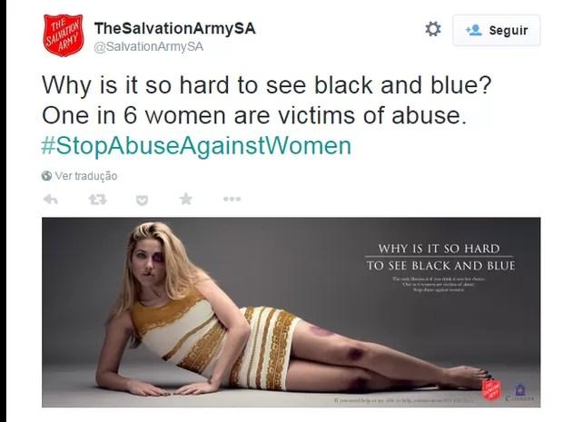 Campanha do Exército da Salvação contra a violência doméstica (Foto: Reprodução/Twitter)