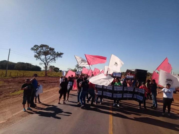 Servidores da rede estadual de educação, que estão em greve há quase um mês, protestaram em um trecho da BR-364, em Cuiabá — Foto: Sintep-MT/Assessoria