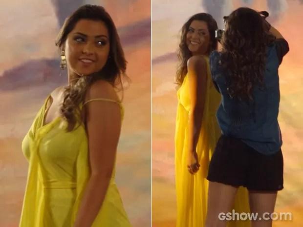 Bárbara arrasa nas caras e bocas para Marina (Foto: Em Família/TV Globo)