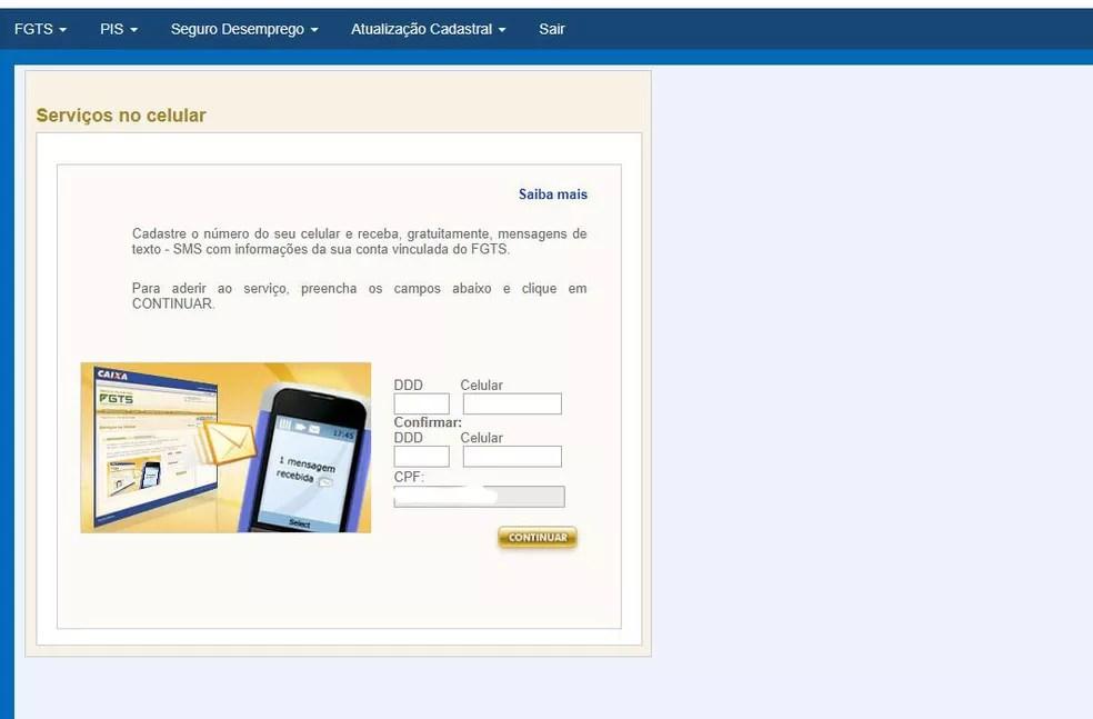 Página de pedido de saldo do FGTS pelo celular — Foto: Reprodução