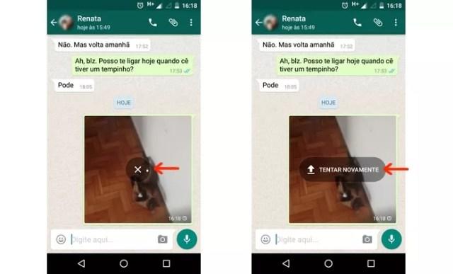 Mensagem de erro de envio na foto do Whats App (Foto: Reprodução/Raquel Freire)