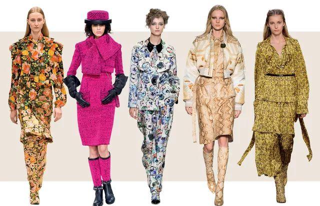 A partir da esquerda, looks Balenciaga, Chanel, Giorgio Armani, Givenchy e Sonia Rykiel  (Foto: Imaxtree )