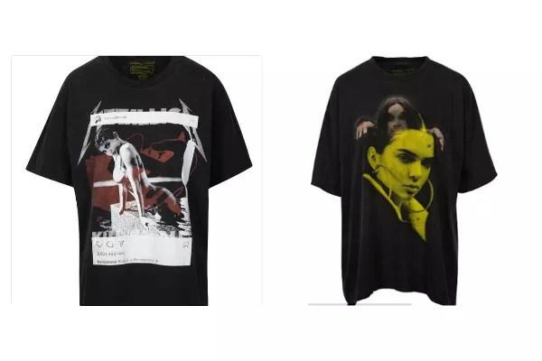 As camisetas vendidas por Kendall e Kylie Jenner, a 125 dólares cada (Foto: Reprodução)