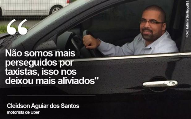O motorista Cleidson dos Santos diz que a relação com os taxistas melhorou (Foto: Tatiana Santiago/G1)