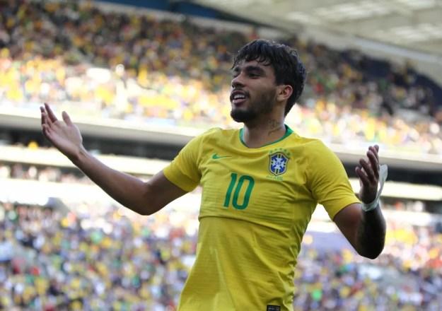 Lucas Paquetá comemora seu gol contra o Panamá — Foto: Reuters