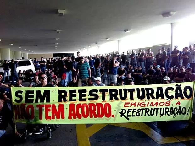 Policiais militares ocupam entrada da Câmara dos Deputados, em Brasília (Foto: Isabella Formiga/G1)