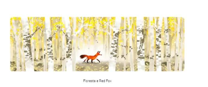 A raposa vermelha, ilustrada no doodle do Dia da Terra 2016, pode ser caçada em alguns países (Reprodução/Carol Danelli)