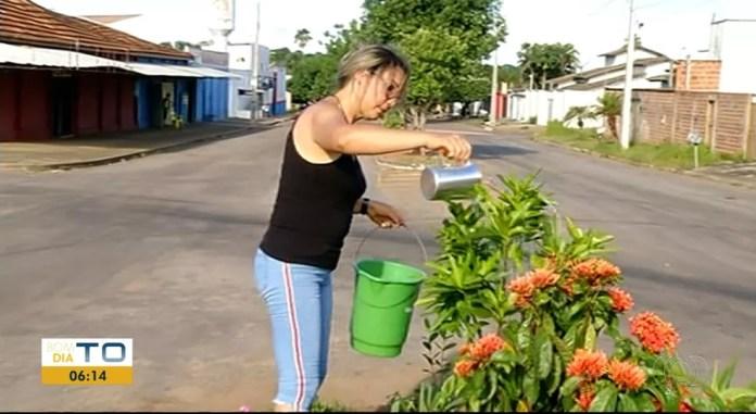 Mulher resolveu plantar flore em rotatória tomada pelo amto — Foto: Reprodução/TV Anhanguera