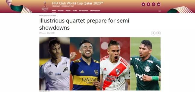 Publicação no site da Fifa, agora com o Rony certo — Foto: Reprodução
