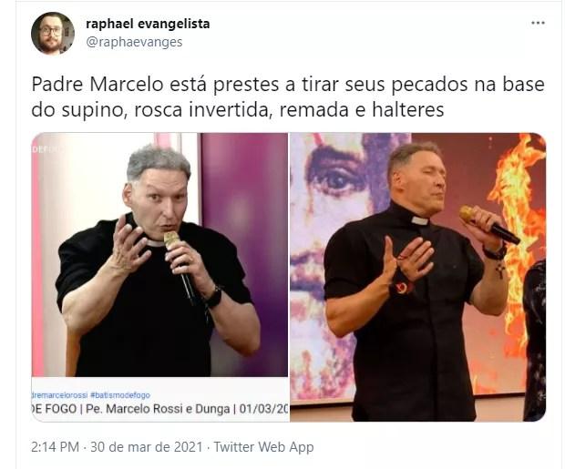 Internauta comenta físico de padre Marcelo Rossi (Foto: Reprodução Twitter)