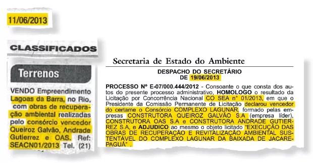 PERTO DO TETO (acima), o anúncio cifrado publicado por ÉPOCA (à esq.) e o resultado da licitação (à dir.). O desconto sobre o preço máximo foi de 0,07% (Foto: Reprodução)