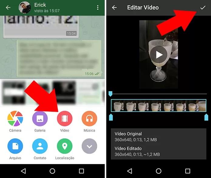 Procure um vídeo na galeria e envie no ZapZap (Foto: Reprodução/Paulo Alves)