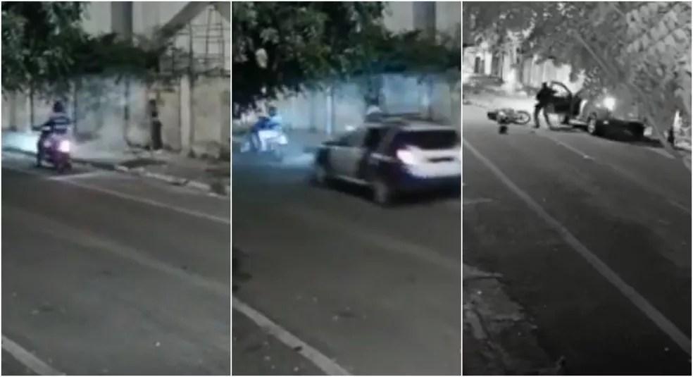 Guarda municipal atropela assaltantes em Sobral — Foto: Reprodução
