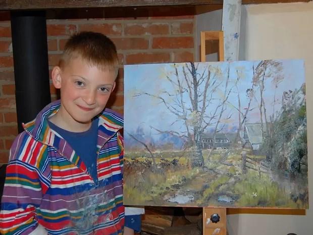 O artista Kieron Williamson, de apenas 9 anos (Foto: Divulgação/BBC)